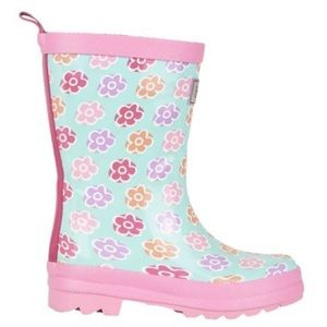 """Hatley """"Flower Sketches"""" Boots - Girl's Size 6"""